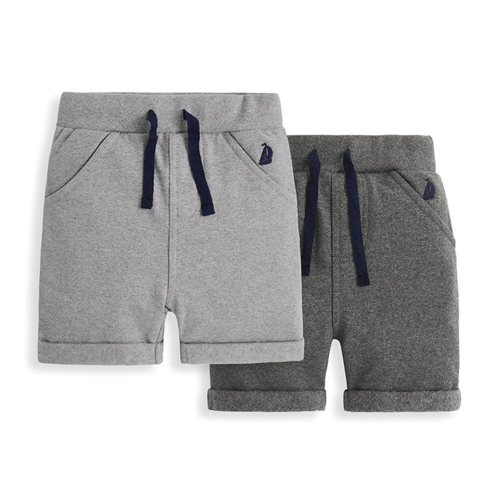 英國 JoJo Maman BeBe - 超優質嬰幼兒/兒童100% 純棉綁繩短褲2入組-灰色