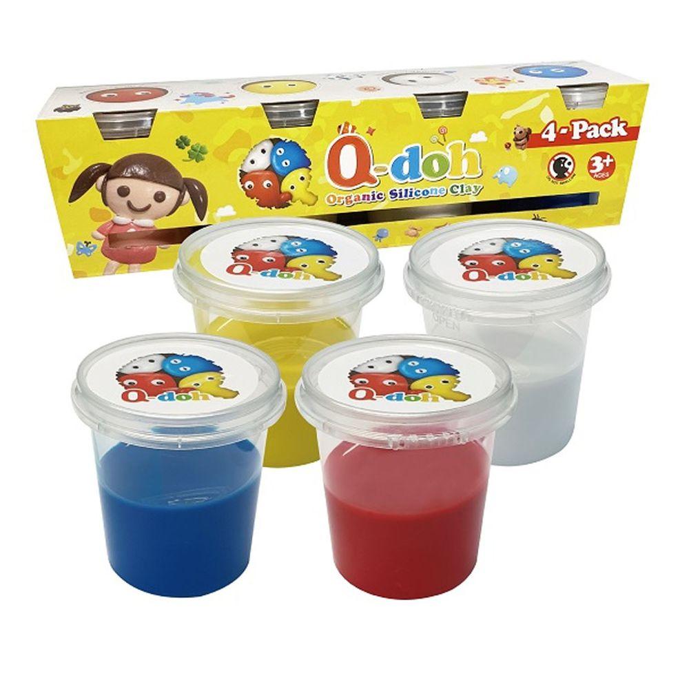Q-doh - 歡樂超柔軟有機矽膠黏土 100g 四入組 (基礎色)