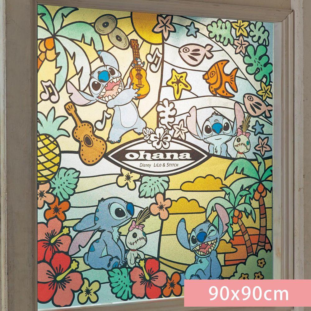 日本千趣會 - 迪士尼 日本製 90%抗UV光影窗貼(靜電式)-史迪奇 (90x90cm)