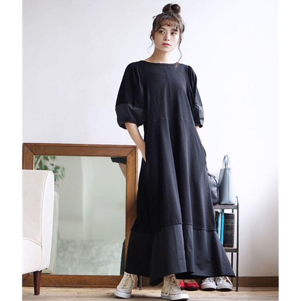 日本 zootie - 層次漸層設計感後蝴蝶結五分袖長洋裝-黑