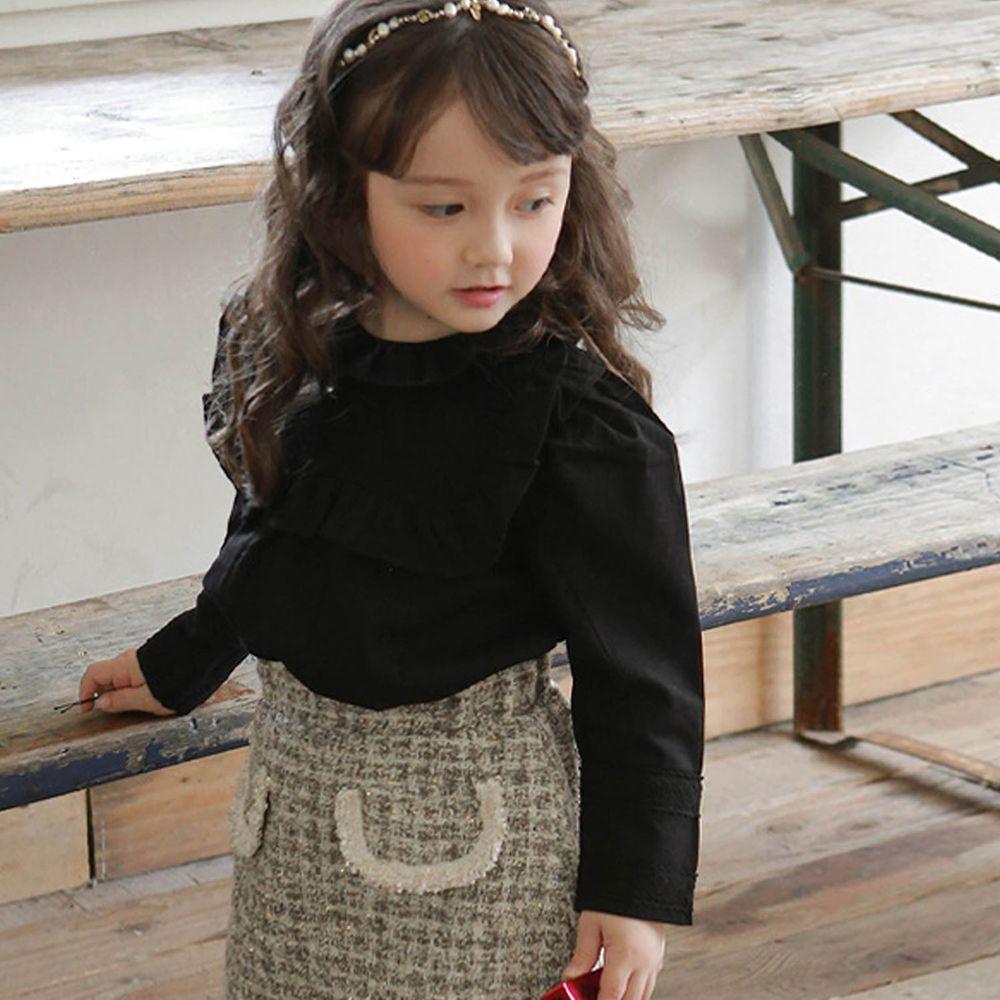 韓國 Puellaflo - 菱格雕花荷葉層次領公主袖上衣-黑
