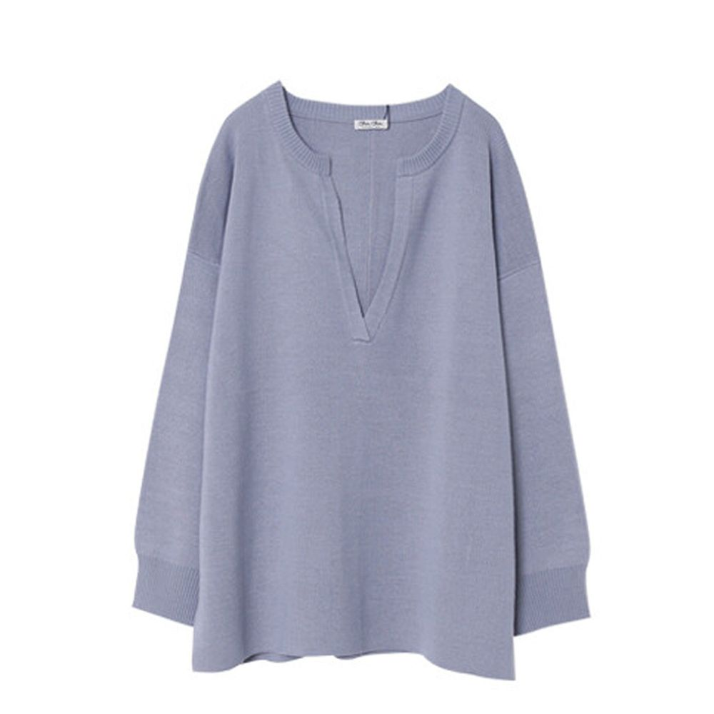 日本女裝代購 - 深V領立體線條針織毛衣-灰藍 (M(Free size))