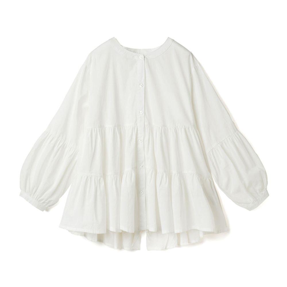 日本 GRL - 浪漫蛋糕層次寬版長袖上衣-白