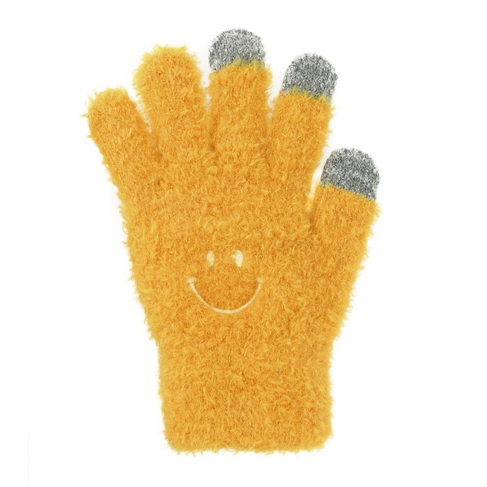日本 TOMO - (大人)可觸控可愛毛絨保暖手套-微笑-暖陽黃