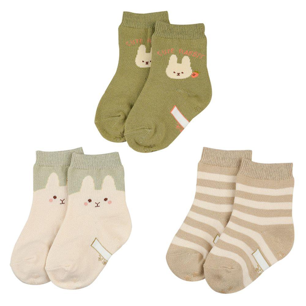 akachan honpo - 女中筒襪3雙組-兔子-淺卡其色 (9~14cm)