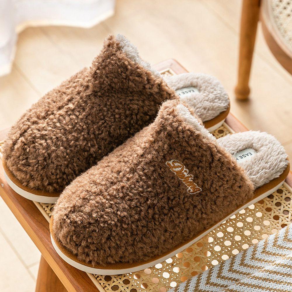 防滑保暖毛毛拖鞋-字母-咖啡