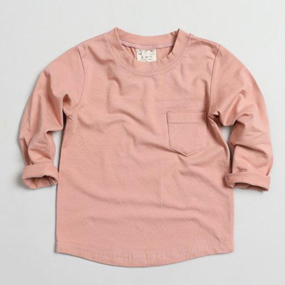 韓國製 - 小口袋莫代爾混紡上衣-粉紅