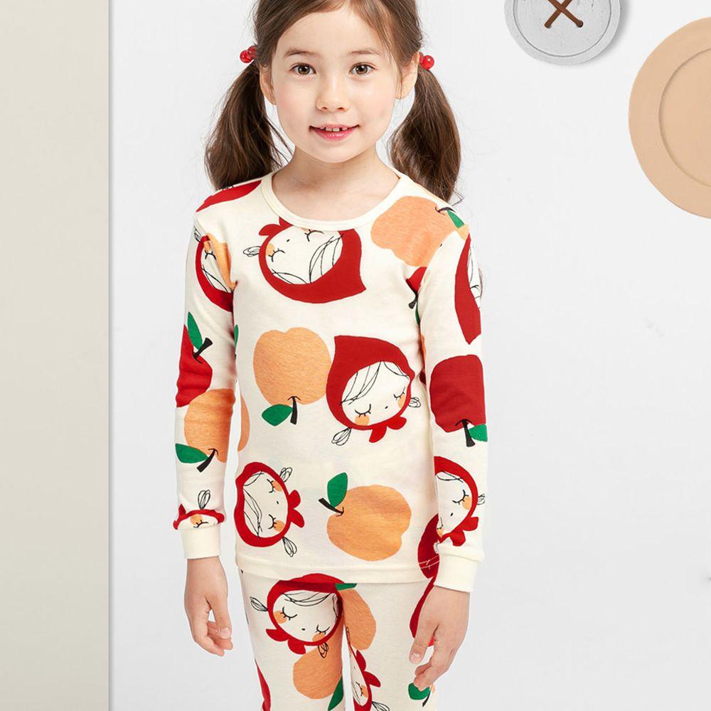 韓國 Mellisse - 韓製30支無螢光棉長袖家居服-大蘋果與小紅帽