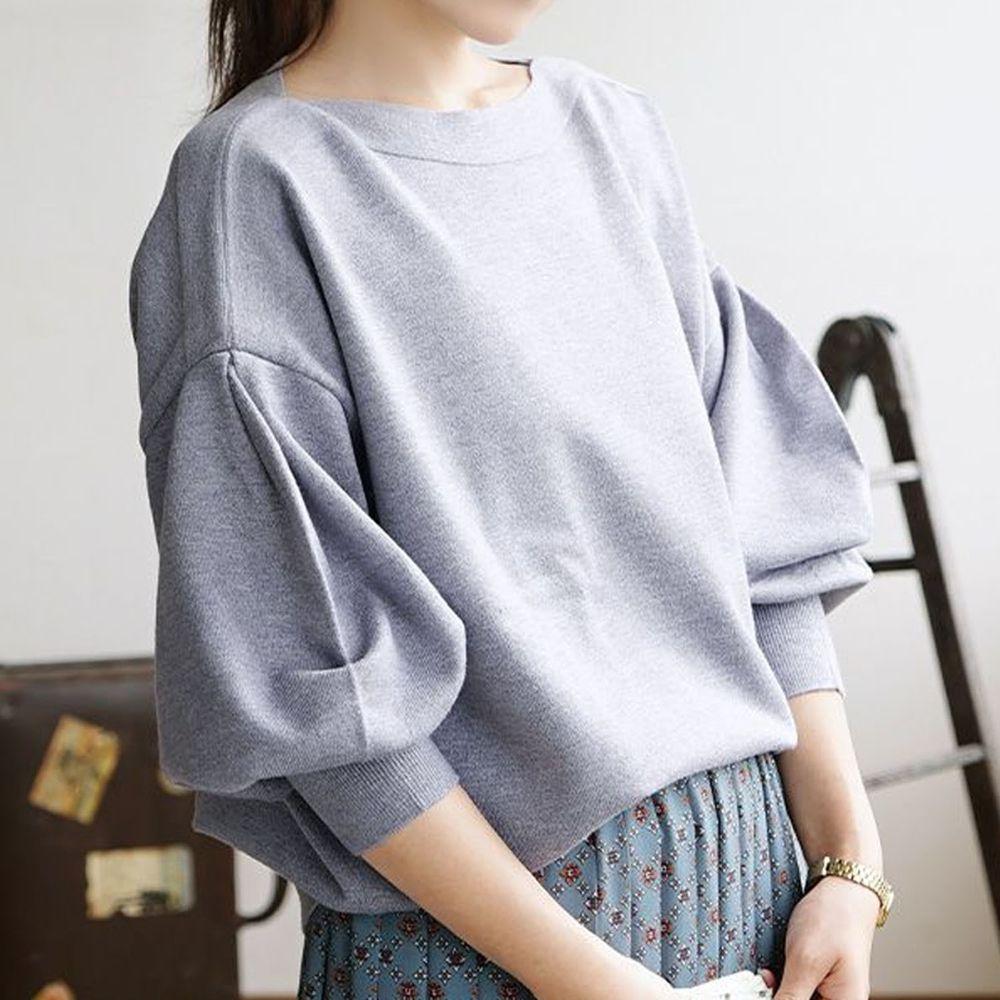 日本 zootie - 澎袖剪裁廣口針織上衣-灰