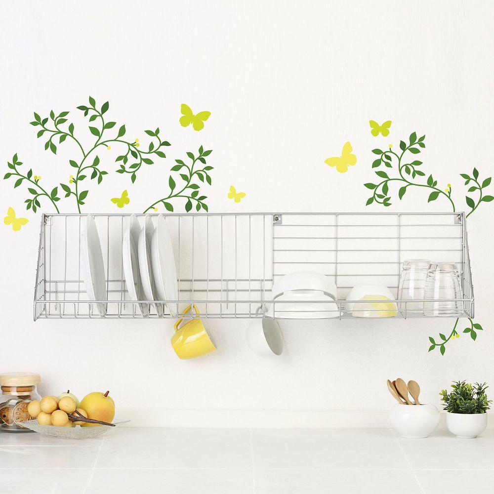 日本 TOKYO STICKER - 日本製 質感無邊框壁貼 [精緻轉印款]-常春藤與蝴蝶 (A4)