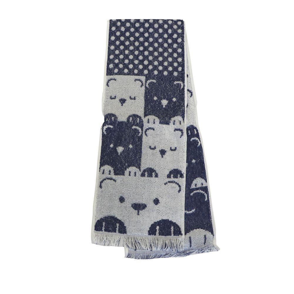 日本涼感雜貨 - 日本製 Eco de COOL 接觸冷感長毛巾-閉眼小熊-深藍 (90x16cm)