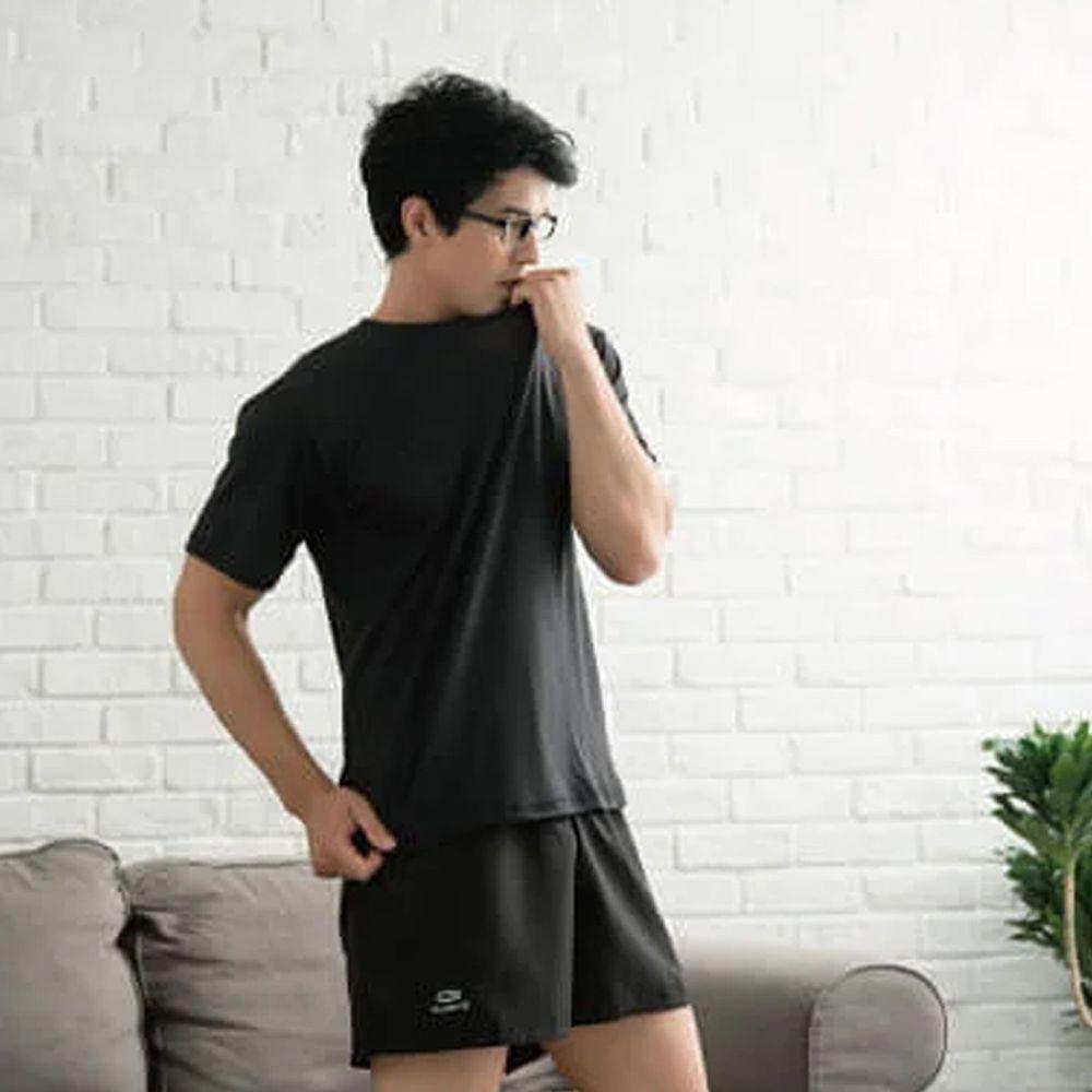 貝柔 Peilou - 機能吸濕排汗內搭圓領衫-黑
