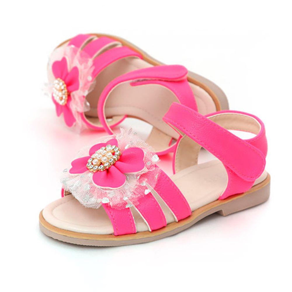 韓國 OZKIZ - (剩180,190)珍珠水晶蝴蝶結魔鬼氈涼鞋-草莓粉