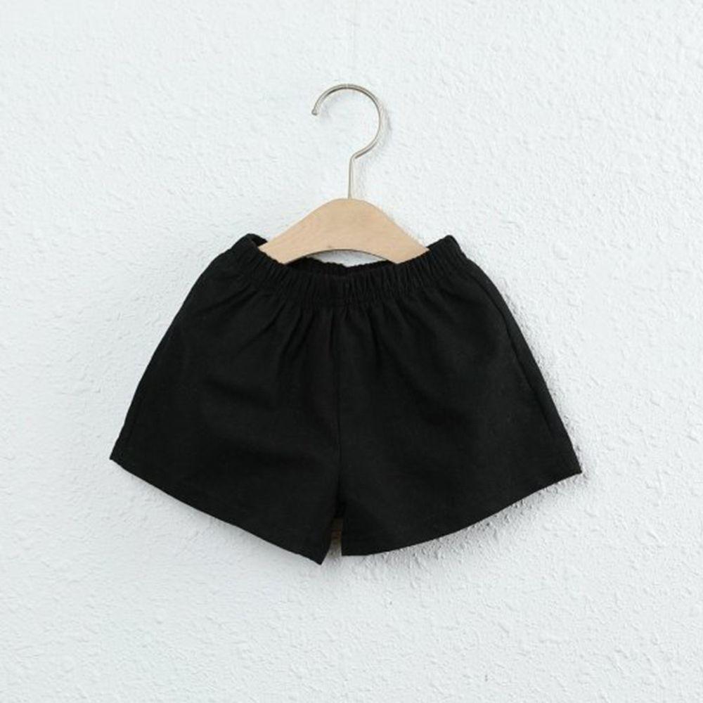 韓國製 - 棉麻小短褲-黑