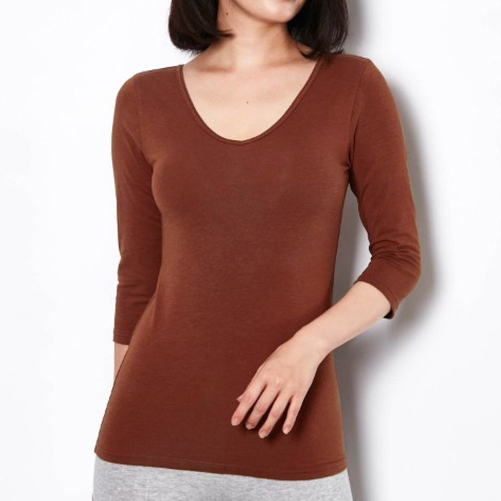 日本千趣會 - 95%棉 (媽媽)前後V領七分袖發熱衣-焦糖棕