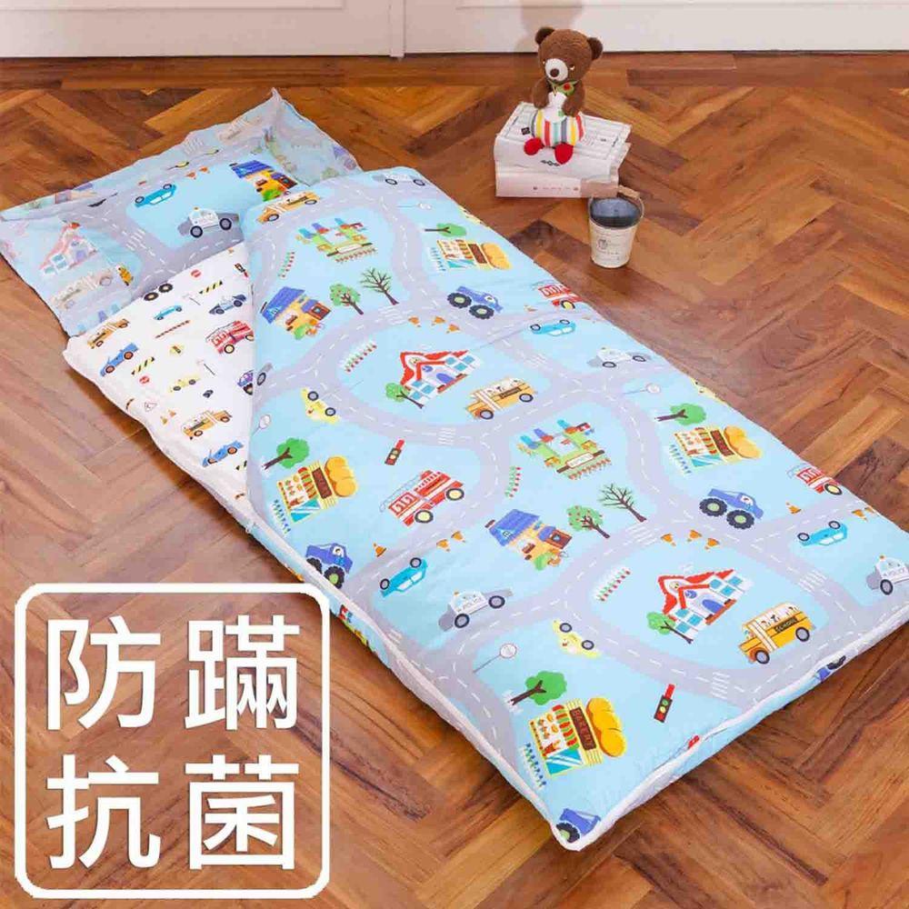鴻宇HONGYEW - 防螨抗菌100%美國棉鋪棉兩用兒童睡袋-交通樂園-1778