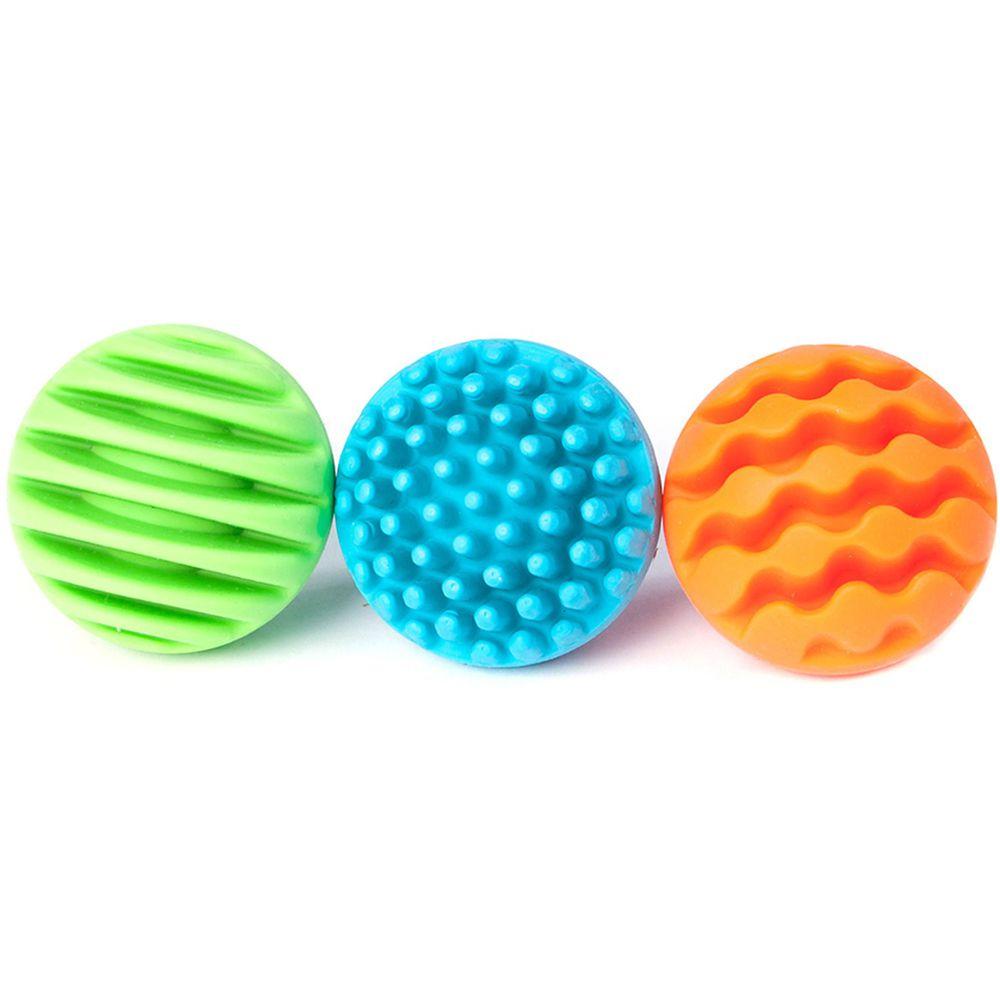 美國 FatBrain - 固齒觸覺球-綠、藍、橘各1