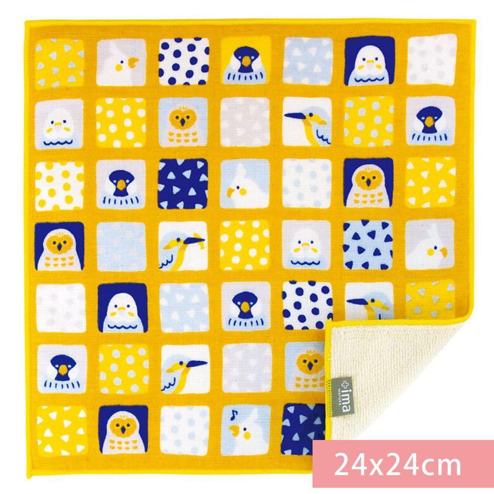 日本代購 - 【ima+】日本製今治純棉手帕-北歐格子鳥-黃 (24x24cm)