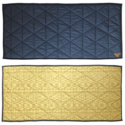 3way吸濕發熱防撥水機能毯-菱格衍縫-深藍X芥末黃 (140x65cm)