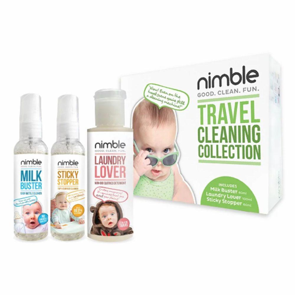 英國靈活寶貝 Nimble Milk Buster - 旅遊隨身萬用清潔組-( 奶瓶除味清潔液 , 髒小孩隨身萬用殺菌清潔液 , 溫和洗衣精 )