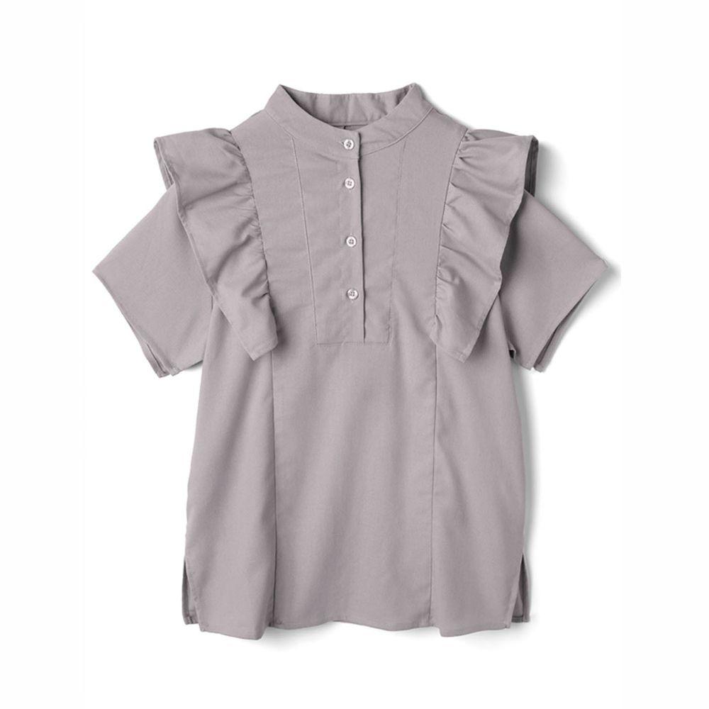 日本 GRL - 排釦圓領荷葉邊設計短袖上衣-淺灰杏