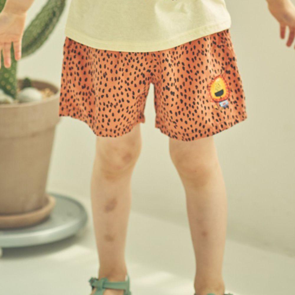 韓國 Mimico - 小獅子鬆緊褲頭短褲-咖啡