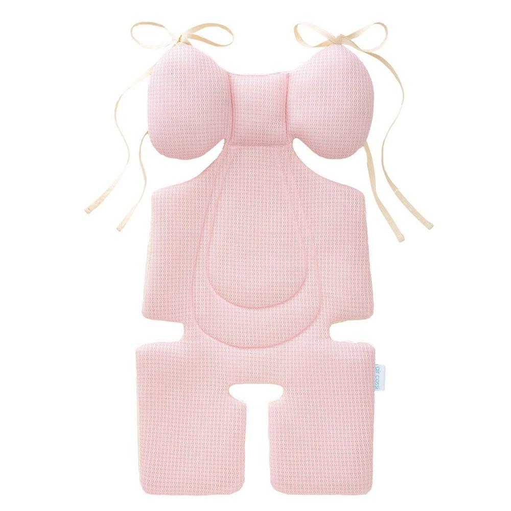 air cossi - 超透氣抗菌天絲坐墊-頭頸支撐款4m-3y-綁帶款-輕盈粉 (67x32cm)