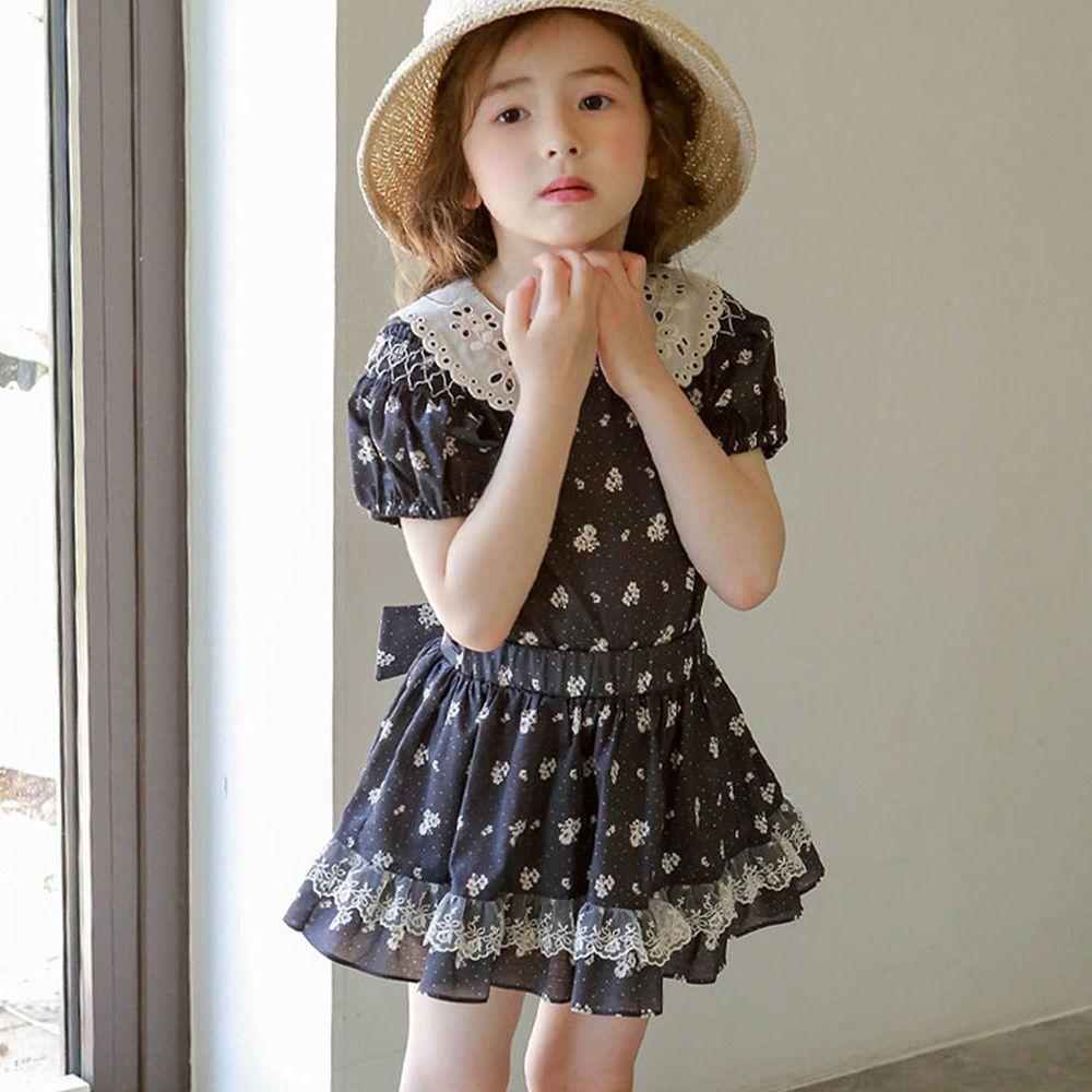 韓國 PuellaFLO - (現省50元)蕾絲點點花朵套裝-深灰花