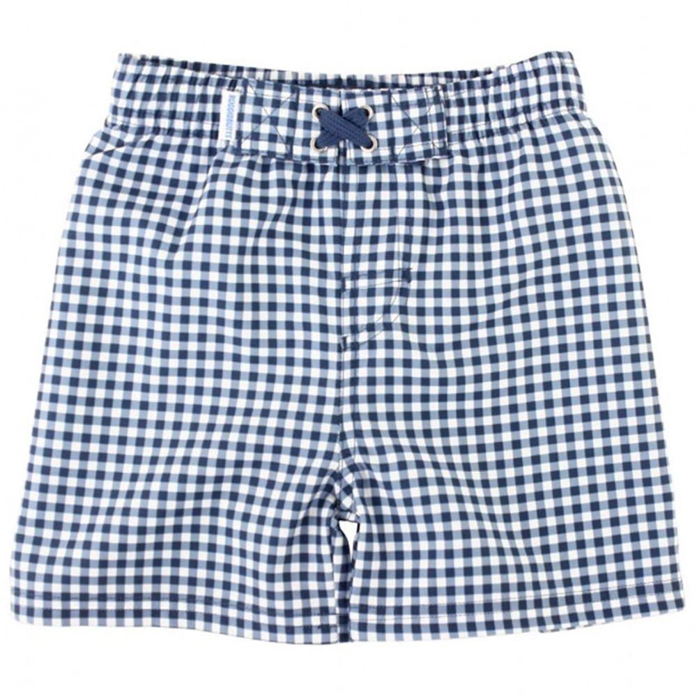 美國 RuffleButts - 小男童UPF 50+防曬泳褲-藍白格子
