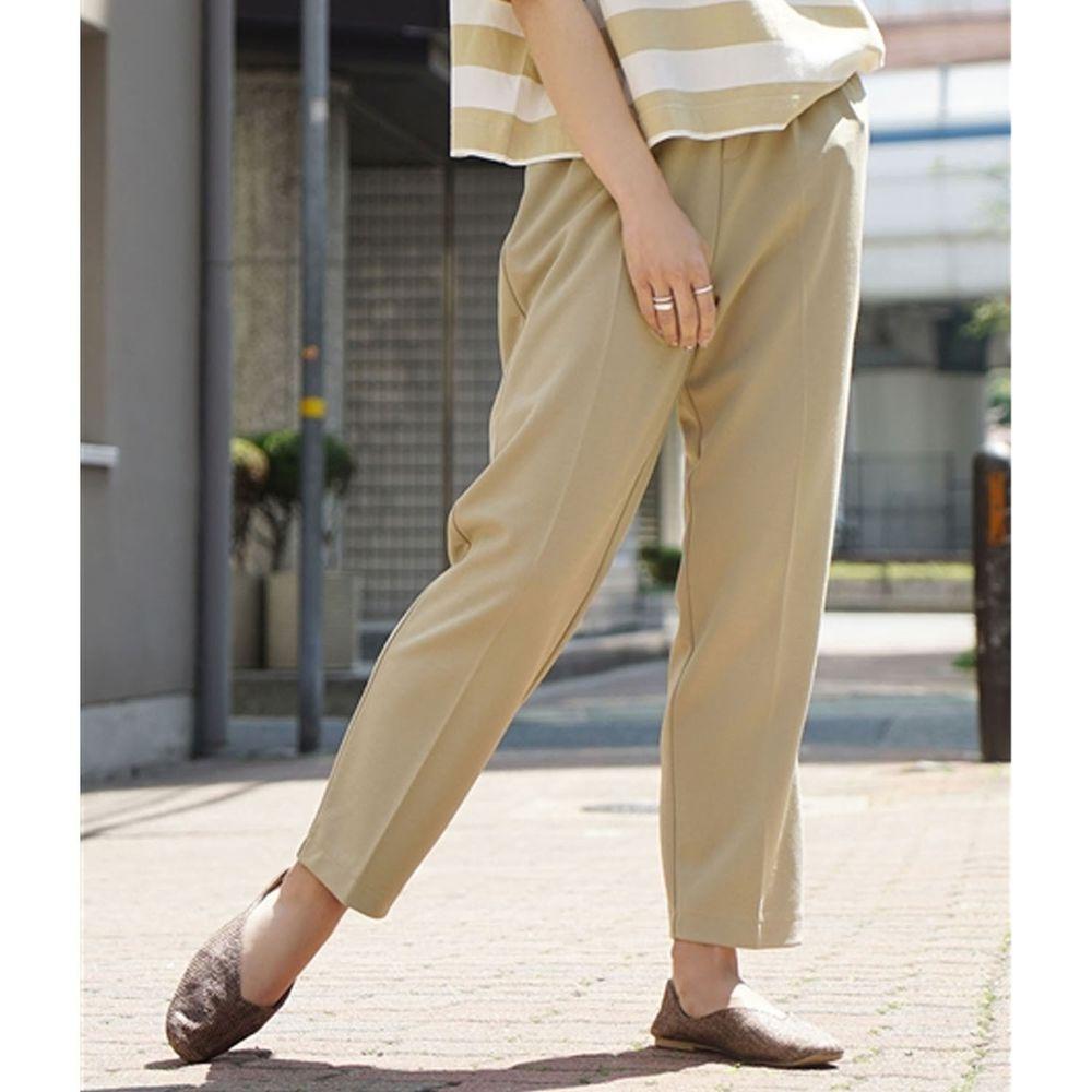 日本 zootie - 美腿彈性復古雪紡哈倫西裝長褲-沙杏