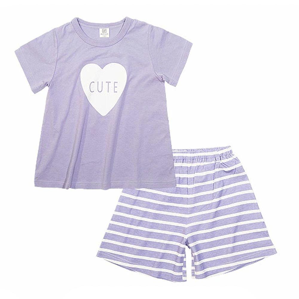 日本 devirock - 純棉短袖家居服-大愛心-淺紫