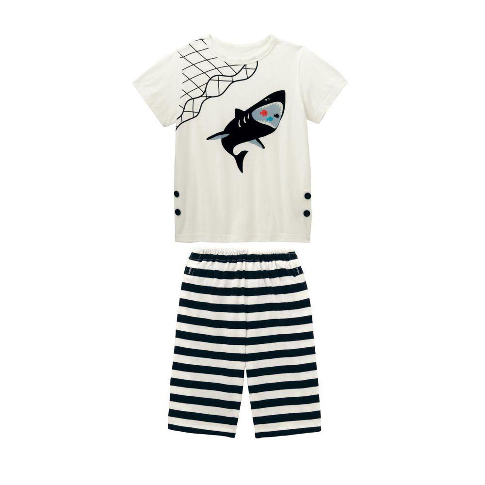 日本千趣會 - GITA 天竺棉舒適短袖家居服-鯊魚吃小魚-黑白