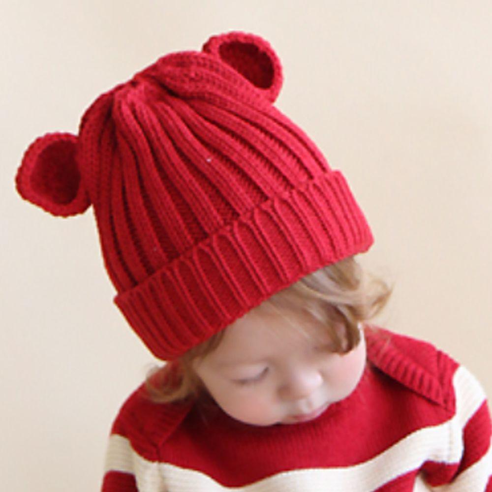 韓國 Babyblee - 小熊耳朵針織毛線帽-紅 (FREE)