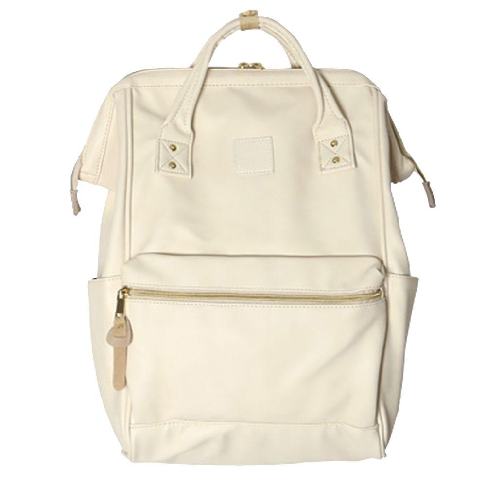 日本 Anello - 日本大開口皮革後背包-Regular大尺寸-IV米白