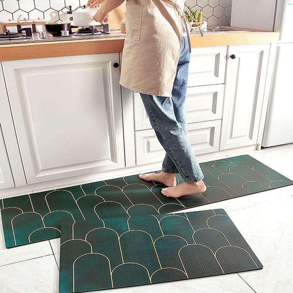 廚房仿皮革PVC防水腳踏墊-金邊山丘-墨綠