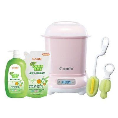 Pro 高效消毒烘乾鍋-超值優惠組 D-優雅粉-消毒鍋+刷具組+奶蔬一瓶兩補
