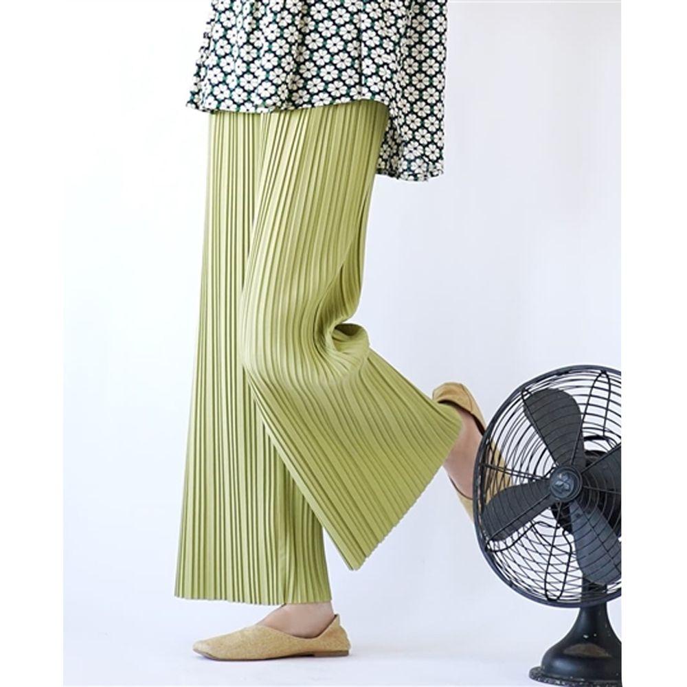 日本 zootie - 繽紛顯瘦百褶風琴寬褲-萊姆綠 (M)