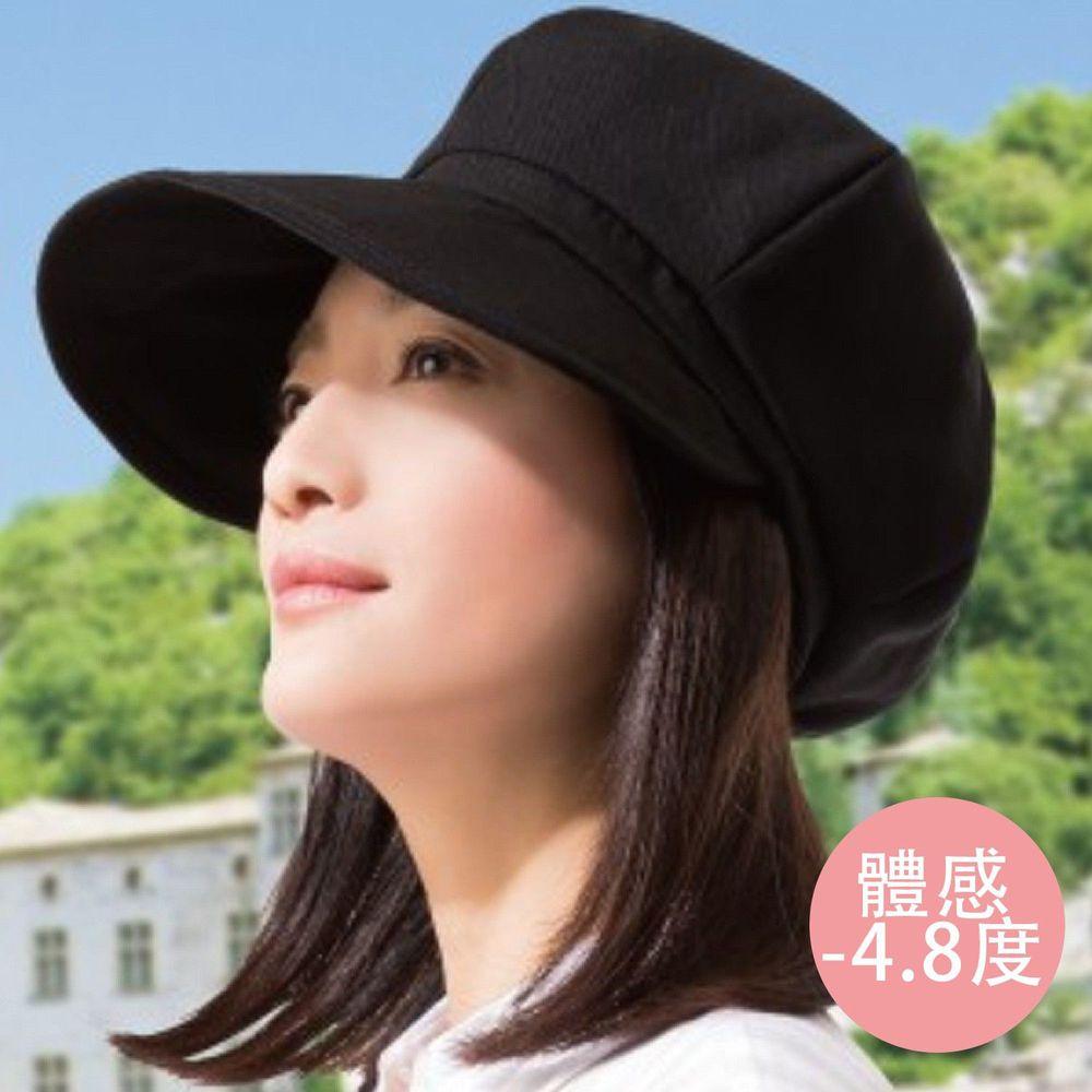 日本 SUN FAMILY - 體感-4.8度大帽簷可折疊貝蕾帽-黑 (頭圍59.5cm內)