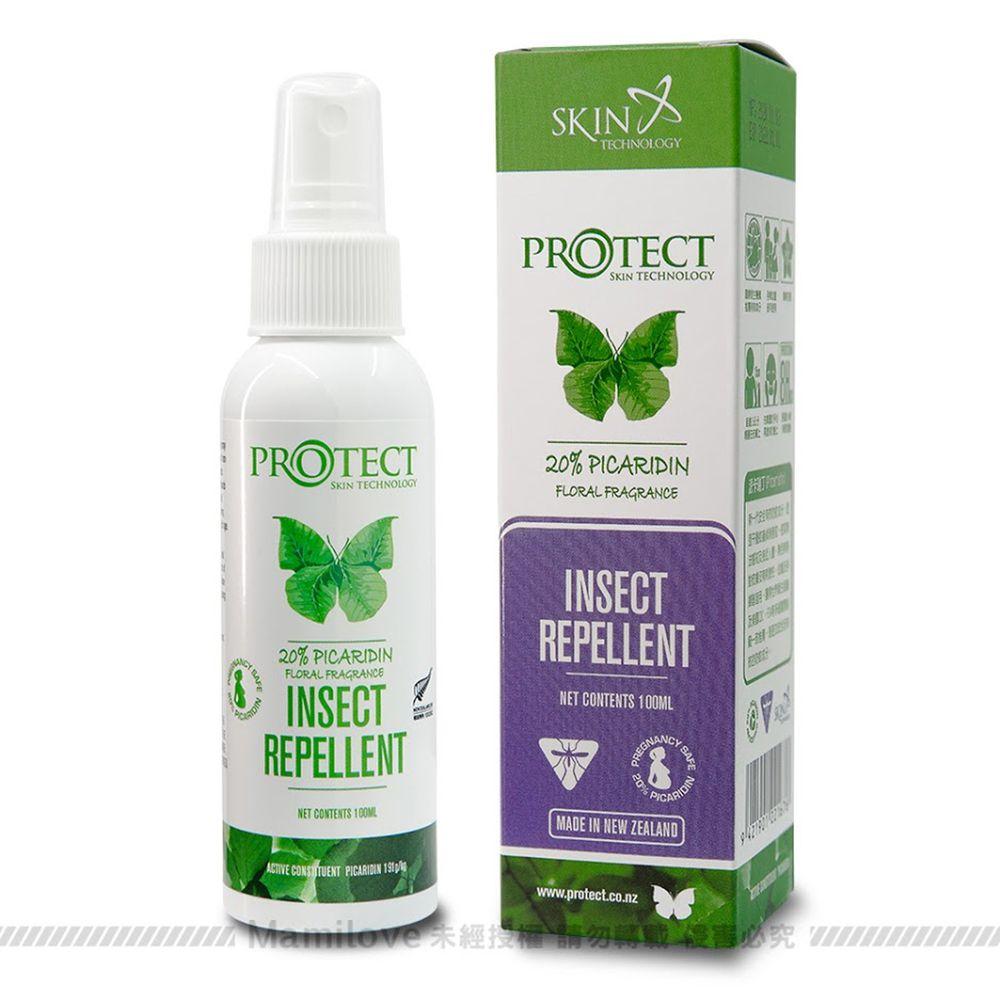 紐西蘭 Skin Technology Protect - 20%派卡瑞丁Picaridin 瑞斌長效防蚊噴霧-花香-100ml (有效期限到: 2022/12/01)