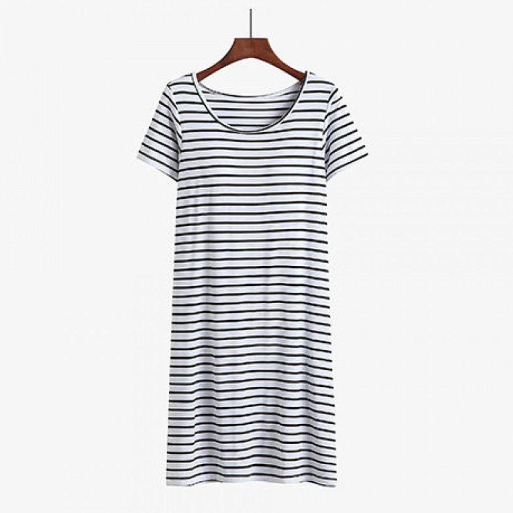 棉質柔軟涼感Bra T條紋睡裙-黑白條紋