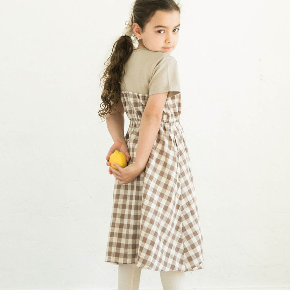 日本 PAIRMANON - 純棉假兩件拼接短袖洋裝-格紋-杏X咖