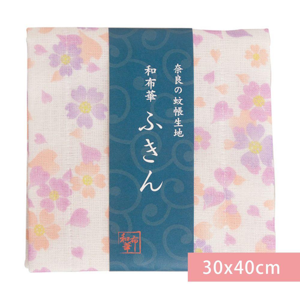 日本代購 - 【和布華】日本製奈良五重紗 方巾-舞櫻-粉紫 (30x40cm)
