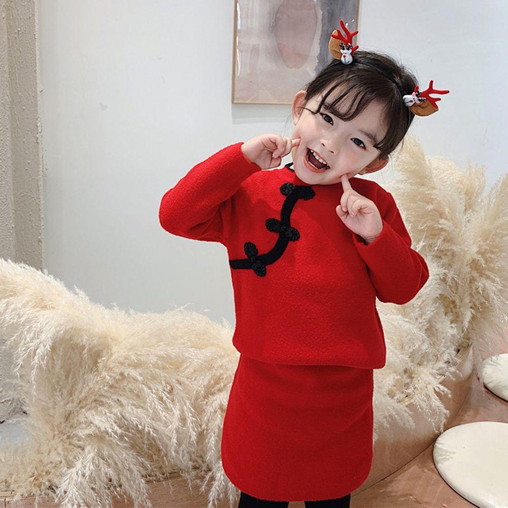 馬海絨旗袍毛衣套裝