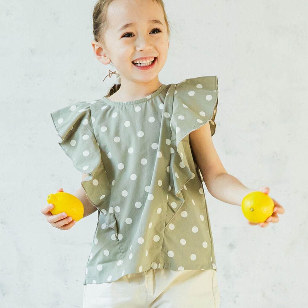 日本 PAIRMANON - 純棉華麗超大荷葉無袖上衣-點點-綠