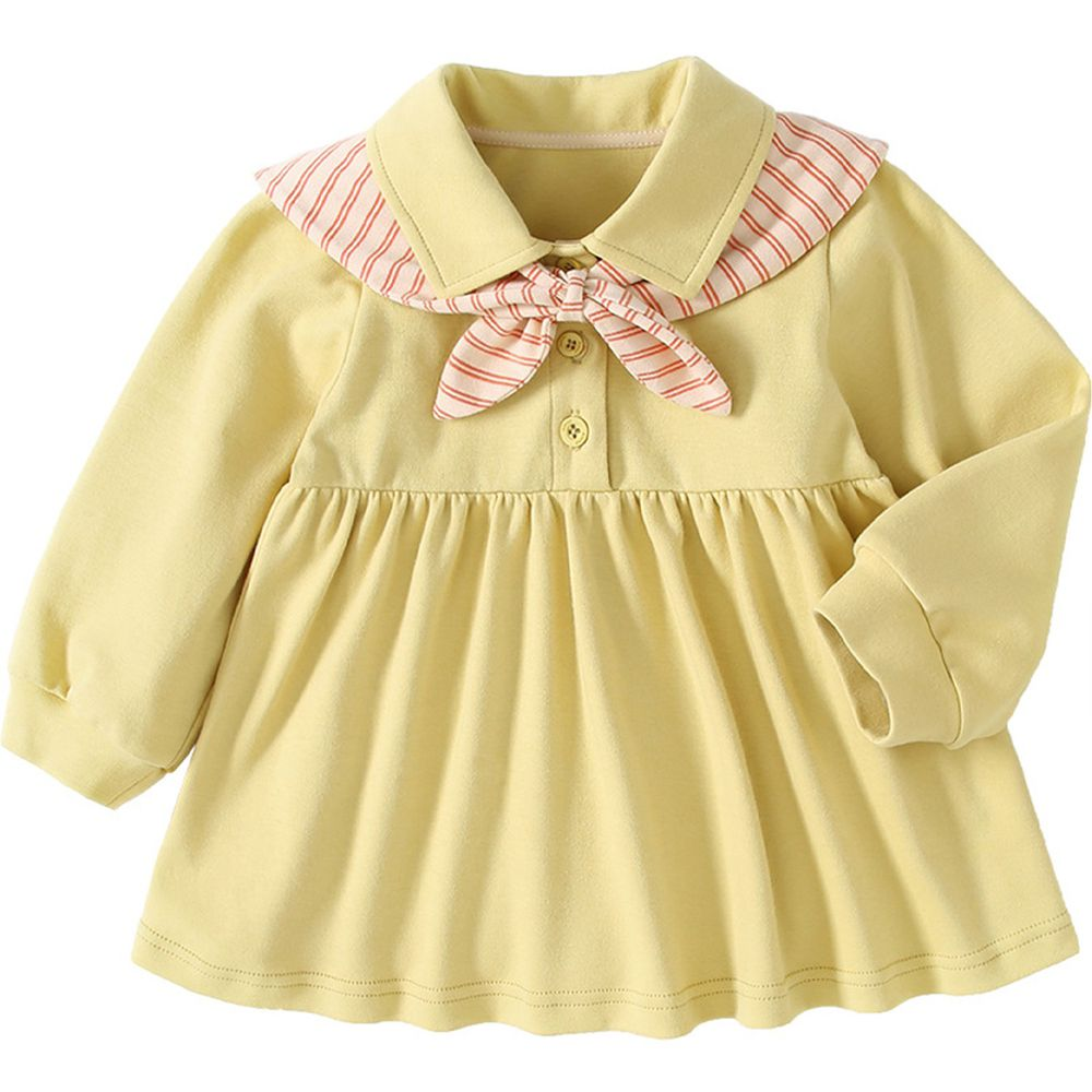 清新學院風短洋裝-鵝黃