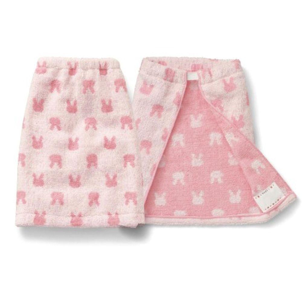 日本千趣會 - 毛巾圍兜2件組-兔兔-粉 (長(34x42.5cm(雙層)))