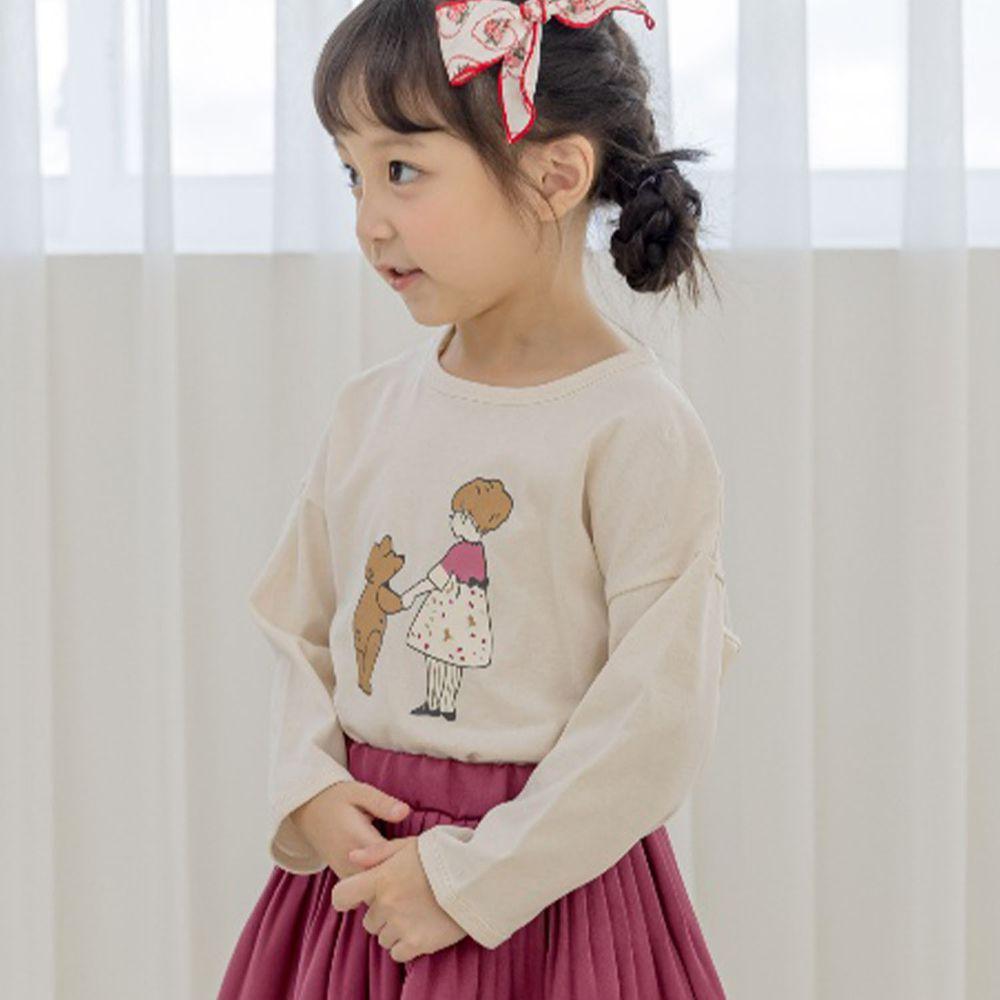 韓國 Orange Mom - 小熊與女孩薄棉T-淺杏