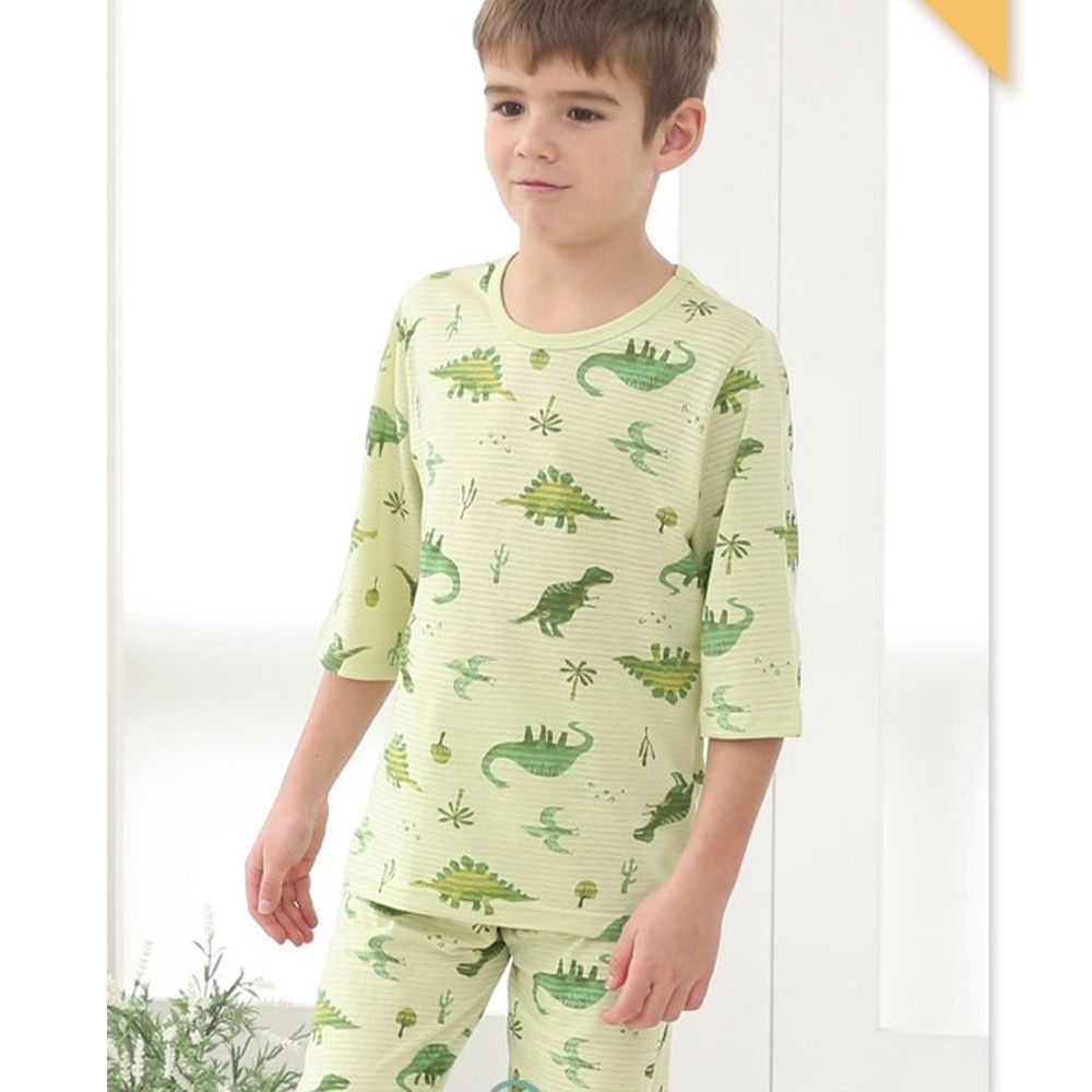 韓國 Mavarm Organic - 有機棉透氣7分袖家居服-綠色侏羅紀
