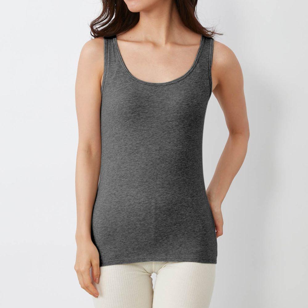 日本千趣會 - 95% 棉 無袖背心發熱衣(附罩杯)-深灰