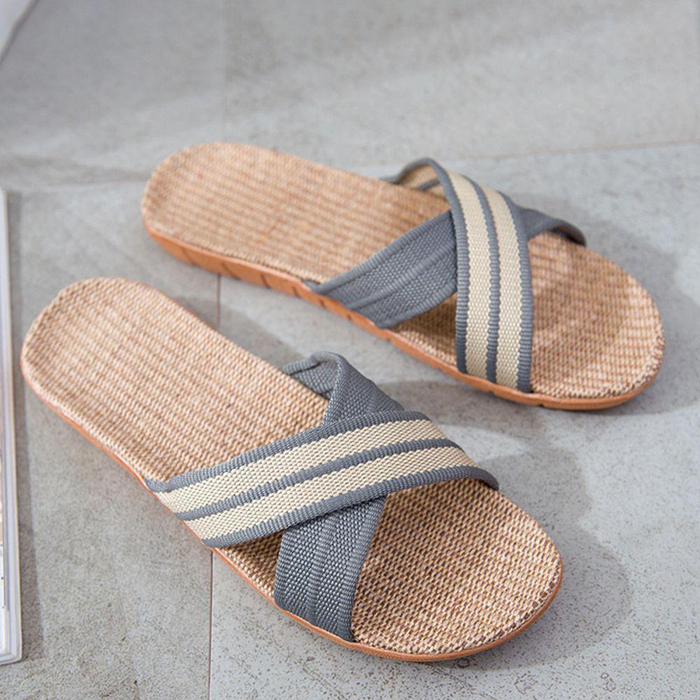 亞麻室內拖鞋-X型-淺灰色
